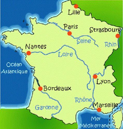 Fleuves-de-France-Seine-Rhin-Rhone-Loire-Garonne-Océan-Atlantique-Mer-Méditerranée-France-Europe.