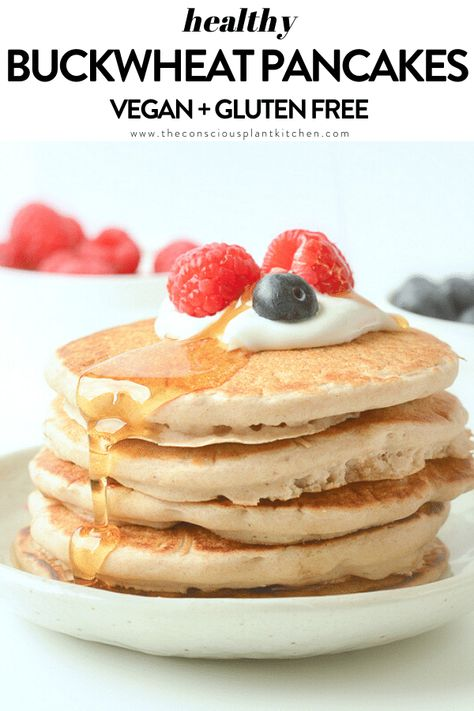 Vegan Buckwheat Pancakes gluten free fluffy vegan pancakes with buckwheat flour. Vegan Buckwheat Pancakes, Best Vegan Pancakes, Vegan Gluten Free Breakfast, Buckwheat Recipes, Gluten Free Pancakes, Breakfast Recipes, Vegan Protein Pancakes, Pancake Recipes, Baking Recipes