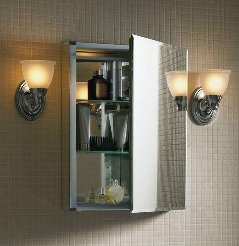 Recessed Or Surface Mount Frameless Aluminum Medicine Cabinet