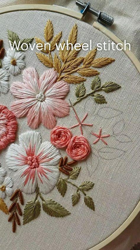 Woven wheel stitch. Hand embroidery pattern