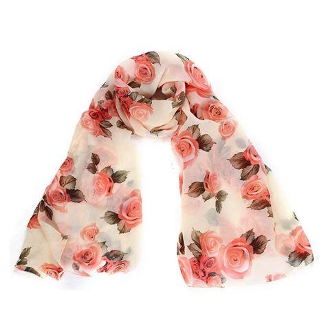 Fashion Women Floral Chiffon Long Wrap Scarves Lady Shawl Silk Soft Stole Scarf