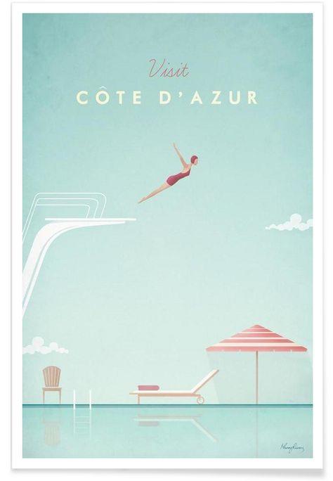 Côte d'Azur als Premium Poster von Henry Rivers |