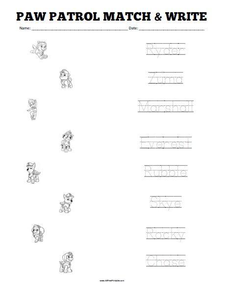 Free Printable Paw Patrol Matching Worksheet Free Printable Paw Patrol Matching Worksheet Kindergarten Worksheets Printable Kindergarten Worksheets Paw Patrol The monkey039s paw worksheet