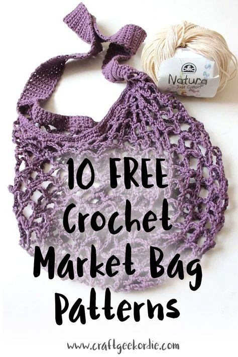 10 FREE Crochet Market Bag Patterns – Craft, Geek or Die - THESE BAGS ARE SIMPLY AWESOME, AS THEY FIT INTO A HANDBAG SO EASILY! - GREAT TO MAKE, AS THEY ARE SURPRISINGLY EXPENSIVE! 🕸