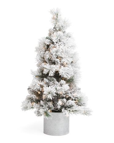 4ft Flocked Tree In Snowflake Pot Plants Planters T J Maxx Flocked Trees Gold Christmas Decorations Potted Trees