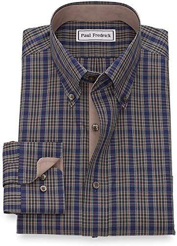 Paul Fredrick Mens Classic Fit Non-Iron Cotton Check Dress Shirt