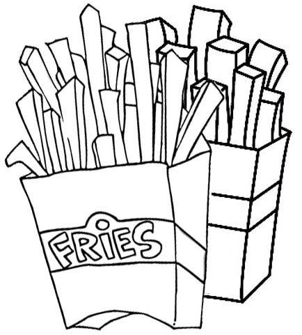 French Fries Coloring Pages In 2021 French Fries Fries Food Coloring Pages