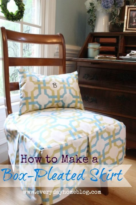 How to Make a Box-Pleated Chair  Cover Skirt - good to make and have on hand when kids will be using upholstered dining room chairs... easy to remove and wash!