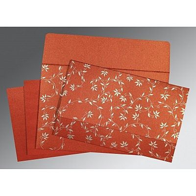 Brick Red Shimmery Floral Themed Screen Printed Wedding Invitation Ru 8226i 123weddingcards In 2020 Screen Printed Wedding Invitations Indian Wedding Cards Printable Wedding Invitations Vintage