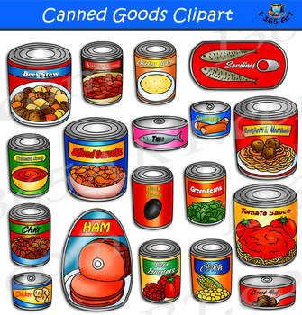 Canned Goods Clipart Canned Food Clipart Set Containing Various Canned Foods Set Includes Images In Both Color And Black And Wh Canned Food Canned Clip Art