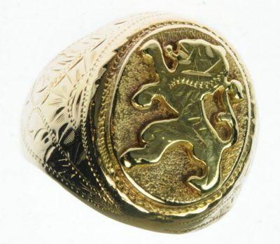 Mens 14k yellow gold bavarian lion fraternal man estate ring