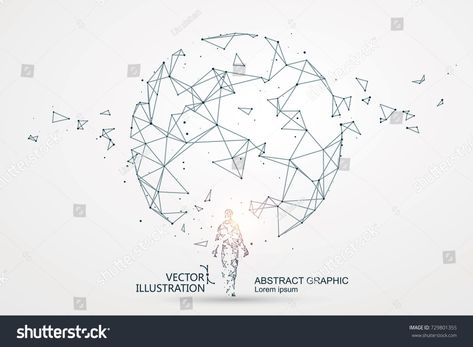 Lines Connected Science Fiction Scene Symbolizing Stock Vector (Royalty Free) 729801355
