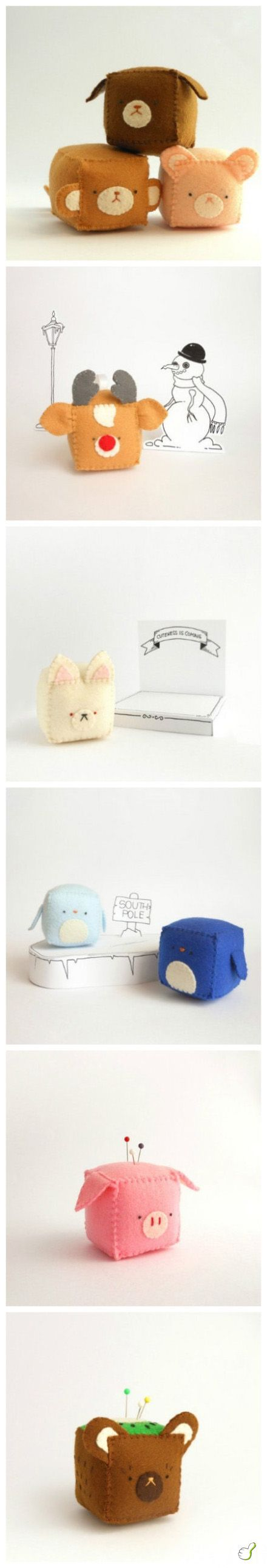 Cube animal felt pin cushions, simple to make and I love the pig one! Could also do a larger version, and fill with a sand pack or just a bag of lentils to make a doorstop..