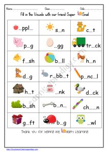 Fill in the Short Vowels|Free Vowels Worksheet for Grade 1 - LearningProdigy - English, English Vowels Worksheets, English-G1, English-K, Subjects -