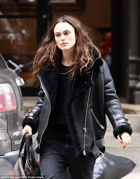Casual but chic:The 30-year-old actress dressed for the chilly NYC weather in a covetable...