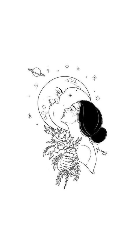 daughter of the moon – Art Sketches Art Drawings Sketches, Easy Drawings, Tattoo Drawings, Tattoo Sketches, Moon Sketches, Tattoo Daughter, Moon Drawing, Tattoed Girls, Tattoos For Kids