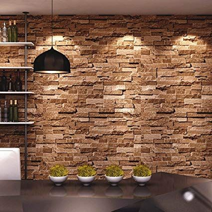 Feature 3d Fake Wall Stone Effect Wallpaper Decorating Ideas In 2020 Faux Brick Walls Stone Wallpaper Faux Brick