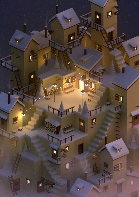 161216 taverne de l echelon - Jeena F. Blender 3d, Game Design, Graphisches Design, Isometric Art, Isometric Design, Interaction Design, Low Poly, Game Concept, Concept Art