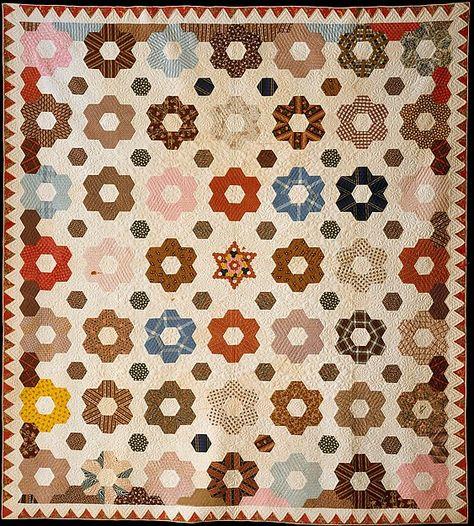 Quilt, Hexagon or Honeycomb pattern.  Maker: Rebecca Davis Date: 1846