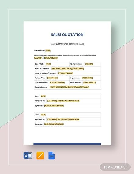 Sales Quotation Template Free Pdf Google Docs Google Sheets Excel Word Template Net Quotations Sales Quotation Reference Letter