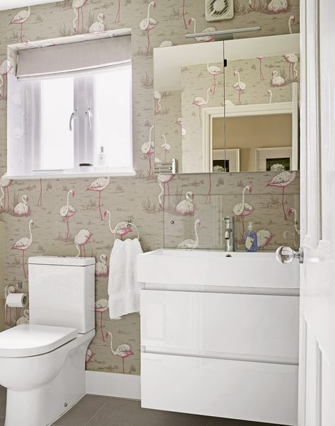 Modern Bathroom With Flamingo Themed Wallpaper Small Bathroom