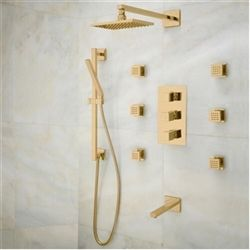 Gold Shower Sale Napoli Rainfall Thermostatic Shower Set With