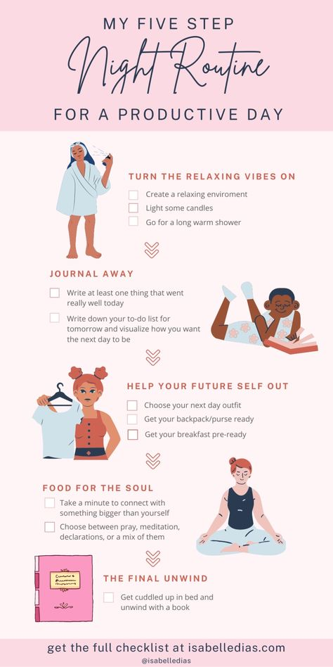 Looking for how to create an evening routine that inclused self care, skin care and calming moments? Let me share with you my night productivity routine of successful people, with my daily tips for the best schedule for women!