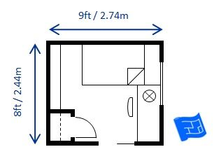 Here\'s 8 x 9ft (2.44 x 2.74m)bedroom layout which fulfills the 70 ...