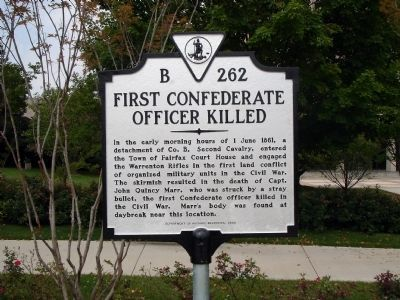 First Confederate Officer Killed Historical Marker