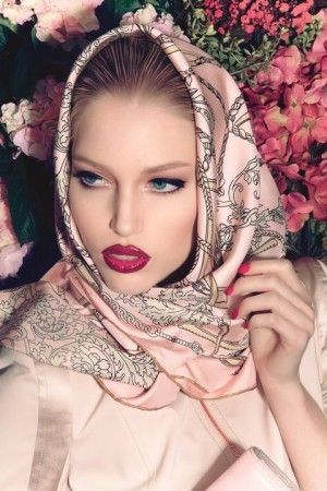 ruby lips and pretty head scarf