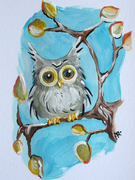 Owls, Fall Foliage Hoot Owl, Original Acrylic Painting on Heavy Paper