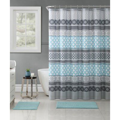 Bungalow Rose Stiner Medallion Single Shower Curtain Blue