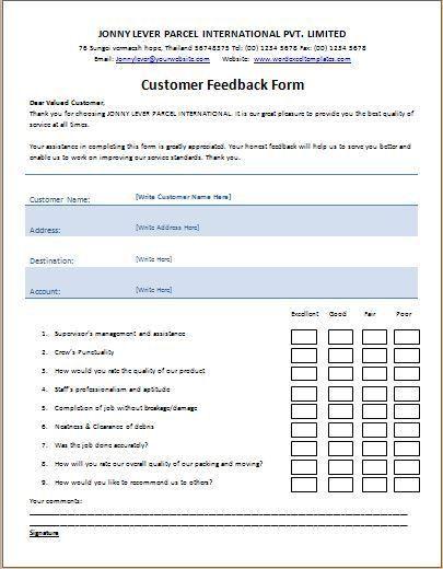 Ms Word Printable Customer Feedback Form Template Word Excel Word