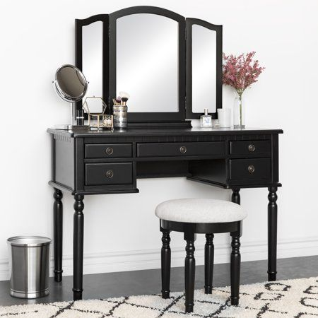 Best Choice Products Bedroom Vanity Hair Dressing Table Set With Tri Folding Mirror And Upholstered Stool Seat Black Walmart Com Mirrored Vanity Table Dressing Table Set Bedroom Desk