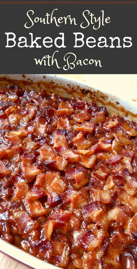 Baked Beans - Classic Southern style baked beans topped with bacon. -Southern-Style Baked Beans - Classic Southern style baked beans topped with bacon. Crock Pot Recipes, Baked Bean Recipes, Side Dish Recipes, Vegetable Recipes, Beans Recipes, Recipes With Bacon, Soul Food Recipes, Pork And Beans Recipe, Recipes With Heinz Beans