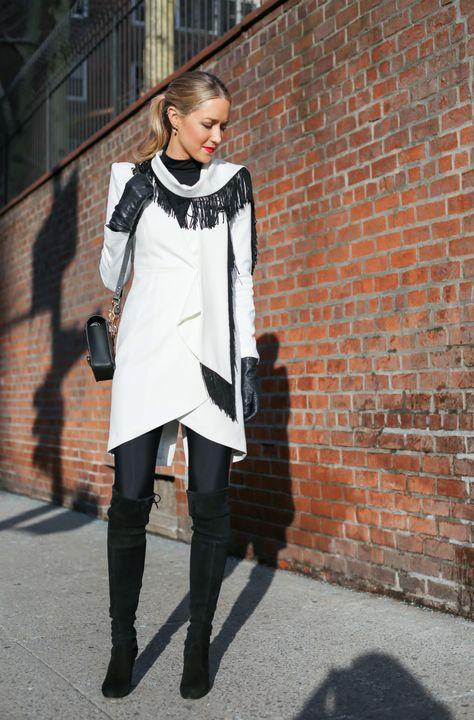 New York Fashion Week Street Style: Black White Fringe