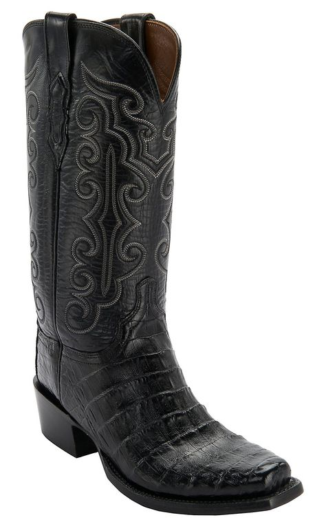 e8744bfd9a Lucchese 1883 Men s Black Ultra Belly Caiman 7-Toe Narrow Punchy Toe Exotic  Western Boots