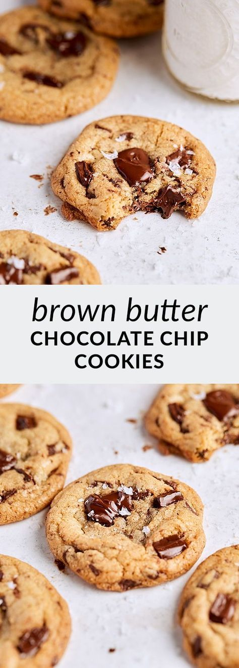 Brown butter chocolate chip cookies make the best chocolate chip cookies! Soft and chewy, with the perfect ratio of chocolate to cookie (hint: the more chocolate, the better!), these cookies are everything. Sprinkle with flaky salt and enjoy with a glass of milk!