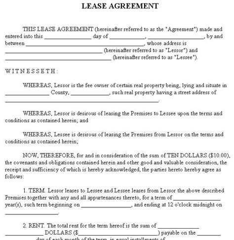 Printable Sample Rental Lease Agreement Templates Free Form Real - blank lease agreement