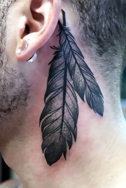 Indian Feather Behind Ear Tattoo Idea Best Neck Tattoos Feather Tattoo Behind Ear Feather Tattoo For Men