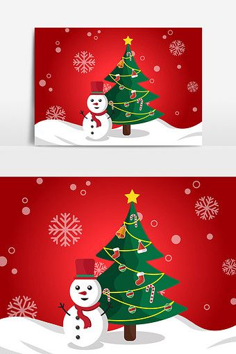 Cartoon Hand Drawn Christmas Tree Snowman Multi Element Pattern Material Pikbest Graphic Elements Christmas Design How To Draw Hands Christmas Tree