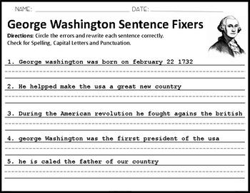 George Washington Sentence Fixers Sentence Fixer Sentences