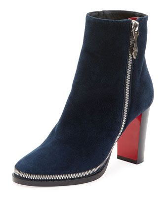 54f2ecc0ff73 Telezip+Suede+Red+Sole+Booties+by+Christian+Louboutin+at+Bergdorf+Goodman.