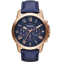 Fossil Men's Grant Chronograph Leather Watch - Rose Gold-Tone and Blue: With rich blue leather and punctuated roman numerals, our classic grant watch has everything you need for a best-dressed season. This grant watch also features a chronograph movement.
