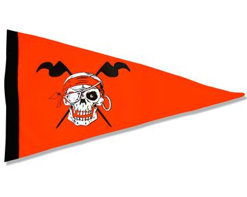 NEW 6 ft Red Skull Bicycle Safety Flag with Axle Mounting Bracket
