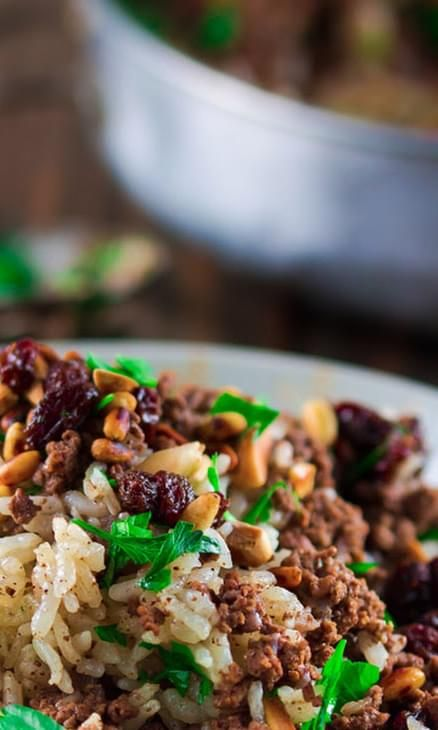 Hashweh Ground Beef And Rice Recipe With Nuts And Raisins Recipe Ground Lamb Recipes Beef And Rice Pork Recipes