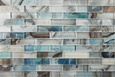 Lungarno Gypsea Series 1inx4in 12x12 Mesh Mount Sheet Midas Linear Glass Tile Bathroom Backsplash Mosaic Glass