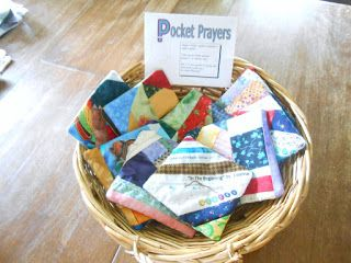 Peace by Piece Quilters: Pocket Prayer Quilts Prayer Box, Prayer Flags, Prayer Crafts, Bible Crafts, Retreat Gifts, Retreat Ideas, Prayer Stations, Christian Crafts, Prayer Shawl