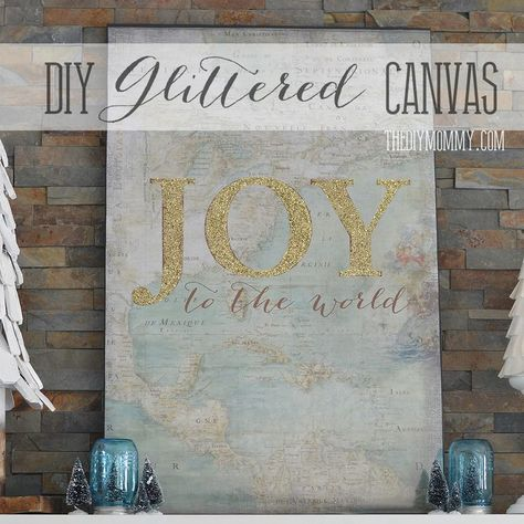 Our Vintage Inspired Glam Christmas Mantel + Make Glittered Canvas Art | The DIY Mommy