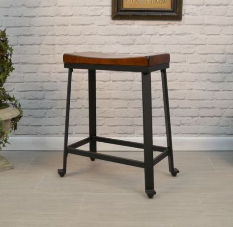 Details About Counter Height Stool Wood Metal Industrial Kitchen